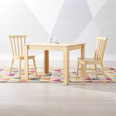 Small Adjustable Natural Kids Table and Shore Kids Chairs Set - Crate and Barrel