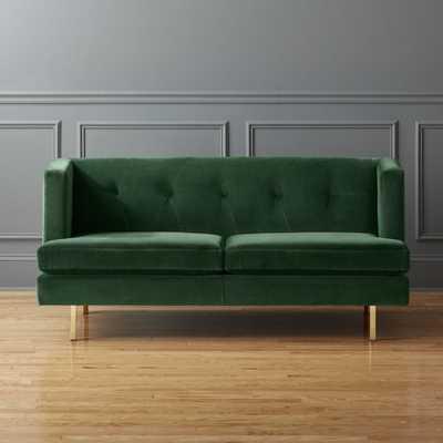 AVEC EMERALD GREEN APARTMENT SOFA WITH BRASS LEGS//Como, Emerald - CB2
