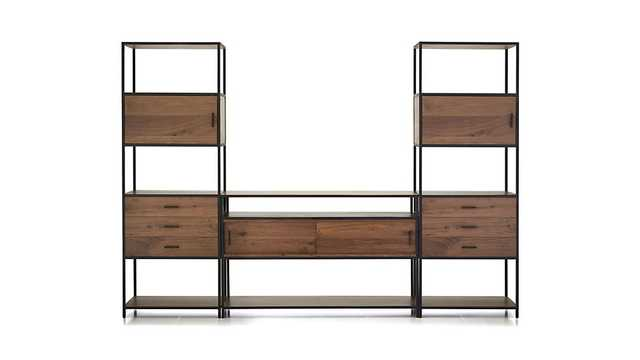 Knox Media Console with 2 Tall Storage Bookcases - Crate and Barrel