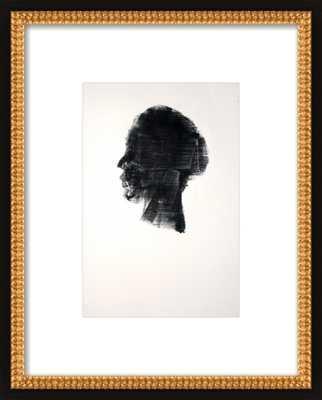 HEAD 259 by Michael Lentz, flat black double bead wood, with mat - Artfully Walls