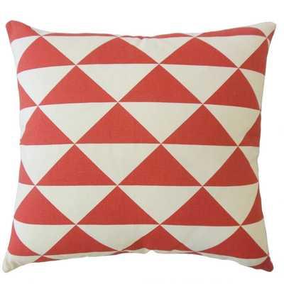 CADEAU GEOMETRIC PILLOW RED - 20 x 20 - Polyester Fiber Insert - Linen & Seam