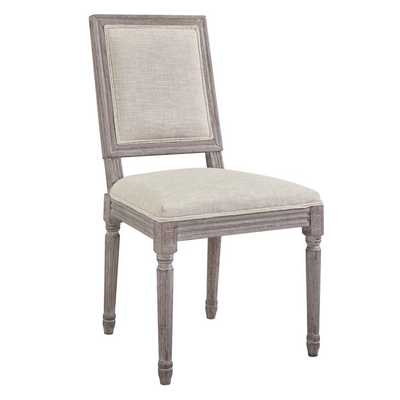 COURT VINTAGE FRENCH UPHOLSTERED FABRIC DINING SIDE CHAIR IN BEIGE - Modway Furniture