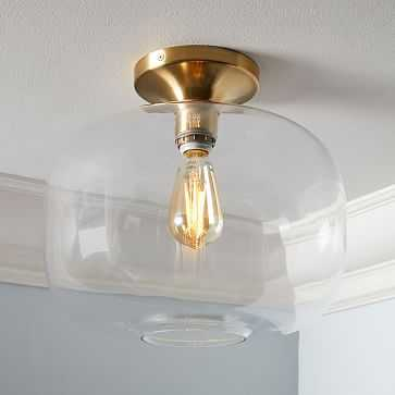 Sculptural Glass Flushmount, Large Pebble, Clear Shade, Brass Canopy, 10 in - West Elm