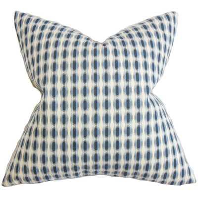 "Italo Geometric Pillow Blue - 18"" x 18"" - Down Insert - Linen & Seam"