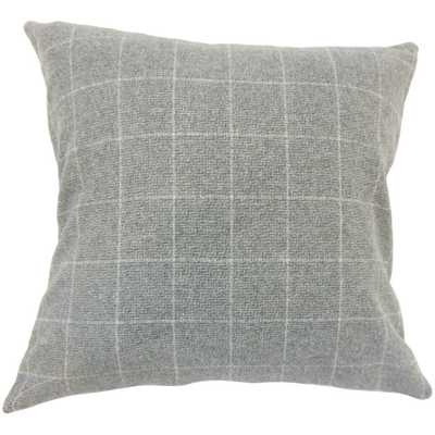 "Geovany Plaid Pillow Grey - 20"" x 20"" - Down Insert - Linen & Seam"