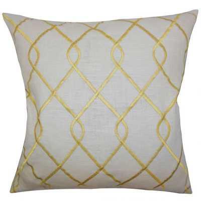 """Jolo Geometric Pillow Yellow - 20"""" x 20""""-  high-fiber polyester pillow insert. - Linen & Seam"""