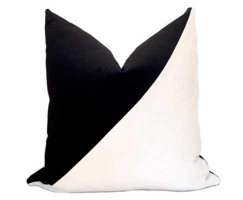 Slash Colorblock Velvet Pillow Cover - Without Insert 26x26 - Willa Skye