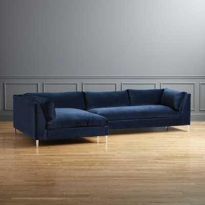 Decker 2-Piece Blue Velvet Sectional Sofa - CB2