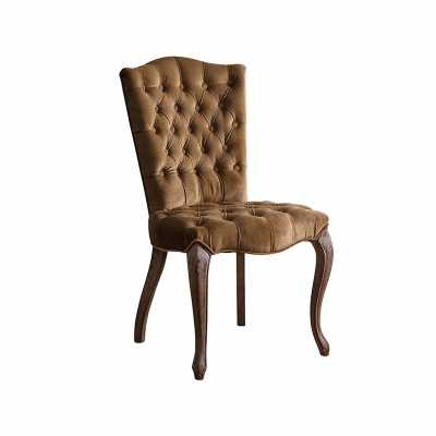 French Vintage Brown Velvet Tufted Dining Chair - Abbyson Living