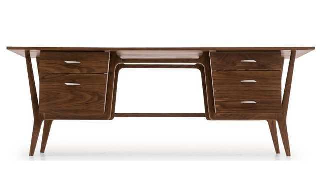 Xavier Mid Century Modern Desk - Walnut - Joybird