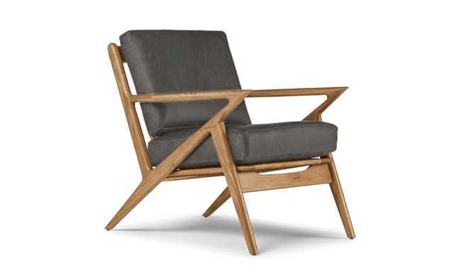 Gray Soto Mid Century Modern Leather Chair - Cartier Wolf - Cherry - Joybird