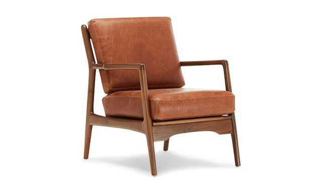 Brown Collins Mid Century Modern Leather Chair - academy Cuero - Walnut - Joybird