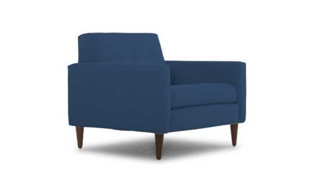 Blue Korver Mid Century Modern Chair - Key Largo Denim - Coffee Bean - Joybird