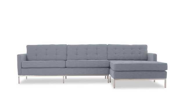 Gray Franklin Mid Century Modern Sectional - Dawson Slate - Right - Joybird