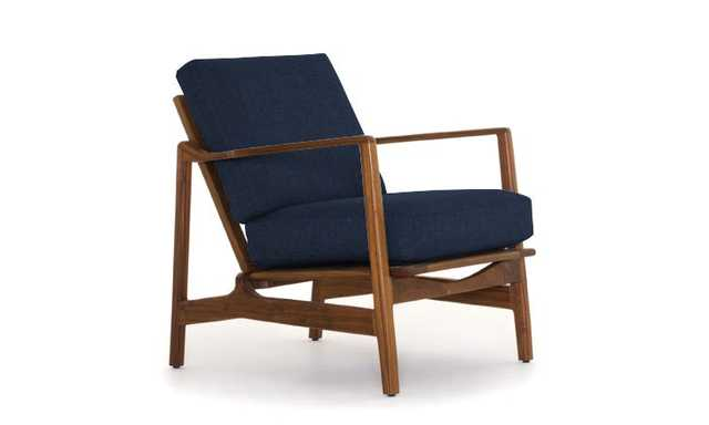 Blue Graham Mid Century Modern Chair - Bentley Indigo - Walnut - Joybird