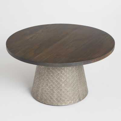 Round Wood and Embossed Metal Kiran Coffee Table: Brown/Silver by World Market - World Market/Cost Plus