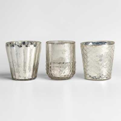 Silver Mercury Glass Votive Candleholders, Set of 3 by World Market - World Market/Cost Plus