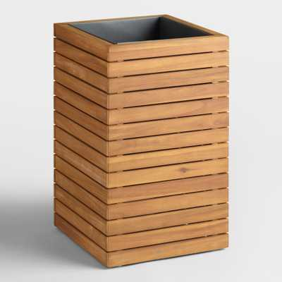 Small Wood and Metal Alicante Outdoor Patio Planter: Natural by World Market - World Market/Cost Plus