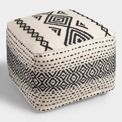 Black and White Kilim Indoor Outdoor Patio Pouf: Black/White - Polyester by World Market - World Market/Cost Plus