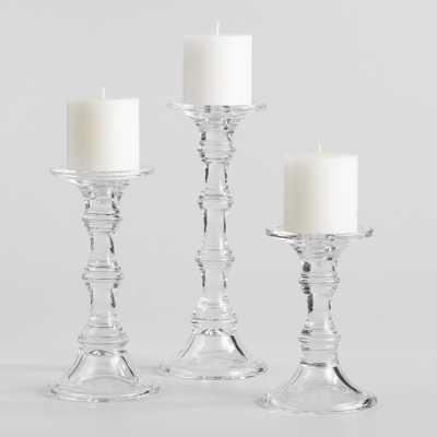 Glass Sora Pillar Candleholders - Medium by World Market Medium - World Market/Cost Plus