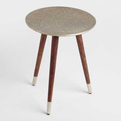 Embossed Azaria Round Accent Table: Silver - Wood by World Market - World Market/Cost Plus