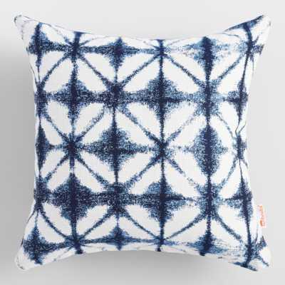 Sunbrella Indigo Tile Outdoor Patio Throw Pillow: Blue - Acrylic  by World Market - World Market/Cost Plus