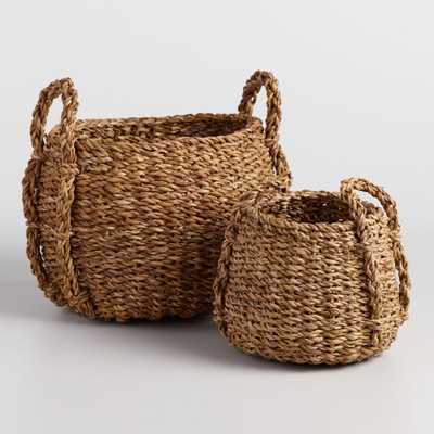 Natural Seagrass Round Jade Tote Baskets - Medium by World Market - World Market/Cost Plus