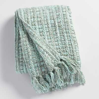 Frost Blue Knit Throw Blanket: Blue/Green - Acrylic  by World Market - World Market/Cost Plus