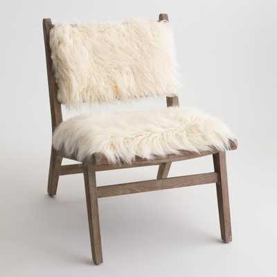 Ivory Faux Flokati Gunnar Chair: White - Fabric by World Market - World Market/Cost Plus