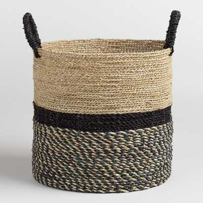 Large Black and Natural Seagrass Calista Tote Basket by World Market - World Market/Cost Plus