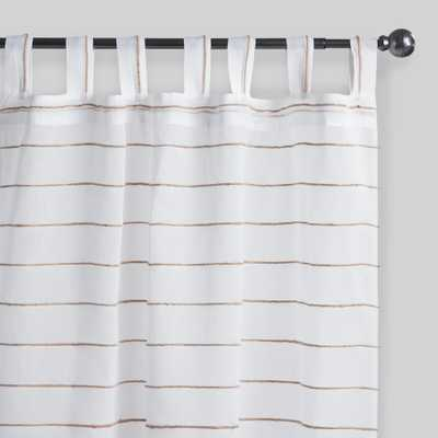 "White Striped Jute Sahaj Tab Top Curtains Set of 2 - Cotton  - 84"" L by World Market 45""x84"" - World Market/Cost Plus"