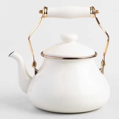 Ivory Enamel Tea Kettle: White - Metal by World Market - World Market/Cost Plus