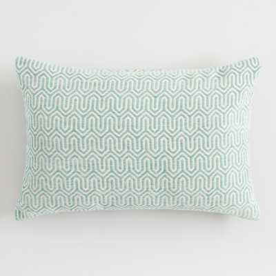 Jadeite Geometric Chenille Lumbar Pillow: Green - Polyester by World Market - World Market/Cost Plus