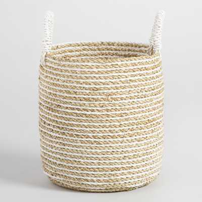 Small Striped Seagrass Bianca Tote Basket: White - Natural Fiber by World Market - World Market/Cost Plus