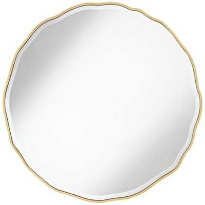 "Lissa Gold Waved Edge 31 1/2"" x 31 1/2"" Wall Mirror - Lamps Plus"