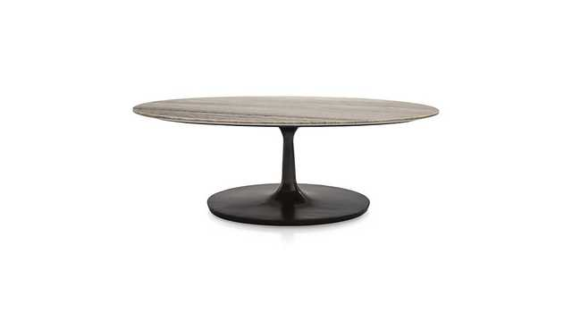 Nero Grey Marble Oval Coffee Table - Crate and Barrel