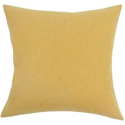 "Acadia Solid Pillow Yellow - 12'x18"" - Down insert - Linen & Seam"