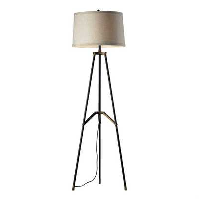 FUNCTIONAL TRIPOD FLOOR LAMP IN RESTORATION BLACK AND AGED GOLD - Rosen Studio
