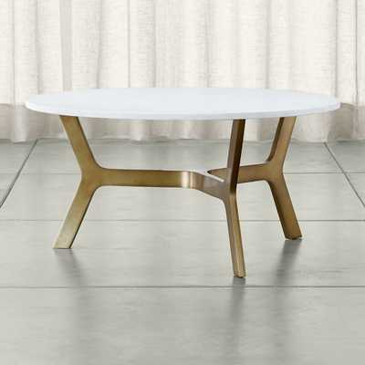 Elke Round Marble Coffee Table with Brass Base - Crate and Barrel