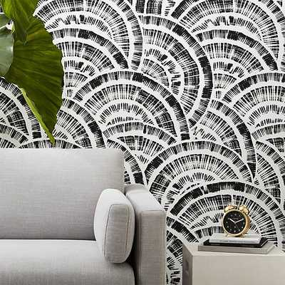 expressionist rounds black and white wallpaper - CB2