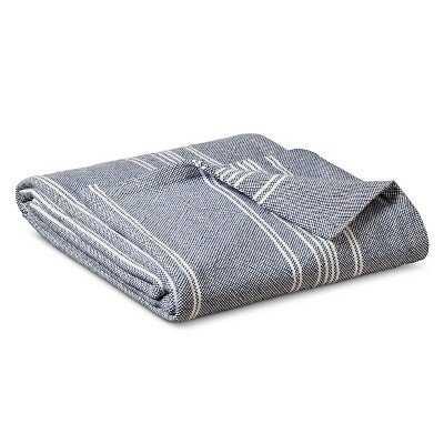 Yarn Dye Stripe Ringspun Cotton Blanket - Metallic Blue, King - Target