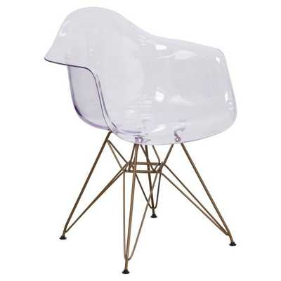 Flash Furniture Allure Series Transparent Side Chair with Gold Frame - Hayneedle