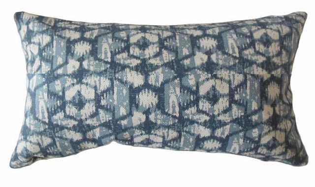 "Whistler Ikat Lumbar Pillow Blue - 12"" x 18"" - Down Insert - Linen & Seam"