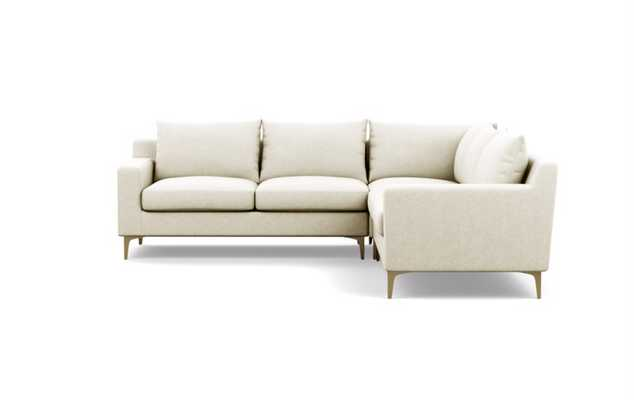 "SLOAN CORNER SECTIONAL - 101""L - Coin Structured Cloth - Brass L Leg - Interior Define"