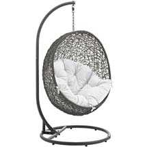 HIDE OUTDOOR PATIO SWING CHAIR WITH STAND IN GRAY WHITE - Modway Furniture