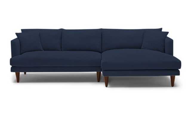 Blue Lewis Mid Century Modern Sectional - Bentley Indigo - Mocha - Left - Cylinder Legs - Joybird