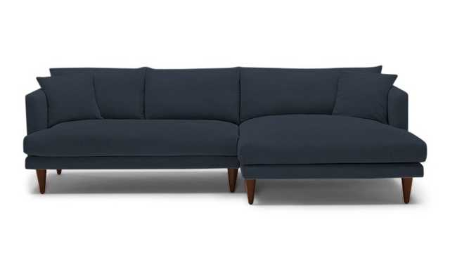 Blue Lewis Mid Century Modern Sectional - Chance Denim - Mocha - Right - Cone Legs - Joybird