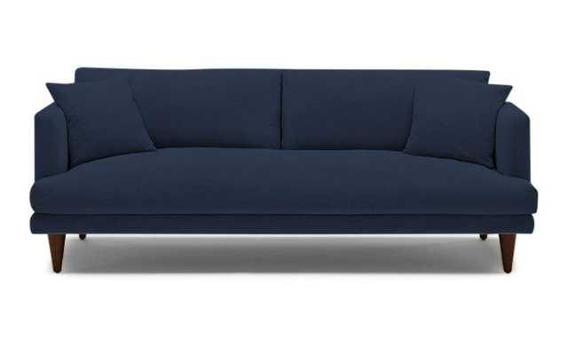 Blue Lewis Mid Century Modern Sofa - Bentley Indigo - Mocha - Cone Legs - Joybird