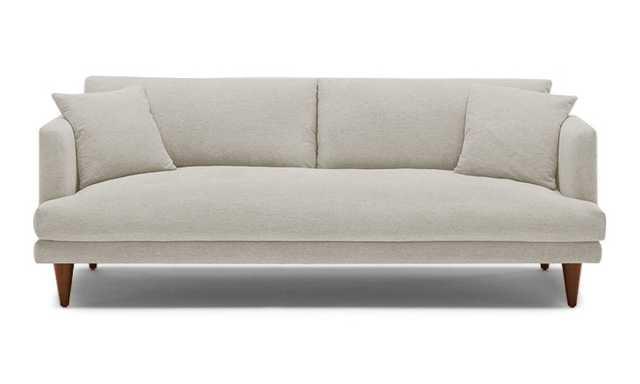 Beige Lewis Mid Century Modern Sofa - Synergy Oatmeal - Medium - Cone Legs - Joybird
