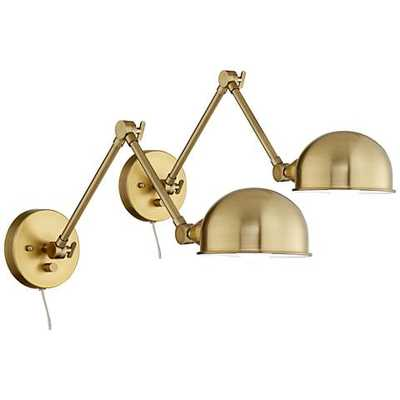 Somers Antique Brass LED Swing Arm Wall Lamp Set of 2 - Lamps Plus